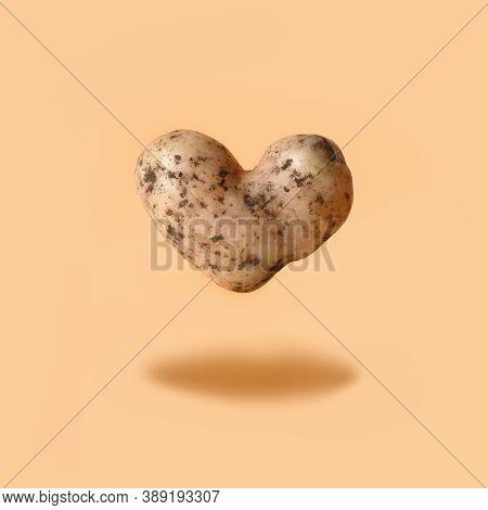 Abnormal Potato In Shape Of Heart Flying On Beige Background. Organic Love Homegrown Vegetables.