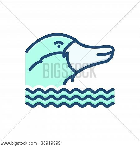 Color Illustration Icon For Platypus Nocturnal Burrowing Mammal Animal