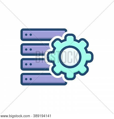 Color Illustration Icon For Settings Storage Server Database Server-error Server Error Database Excl