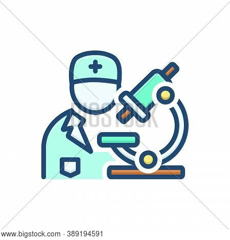 Color Illustration Icon For Pathologist Biochemist Diagnosis Pharmacology Experiment Scientific Medi
