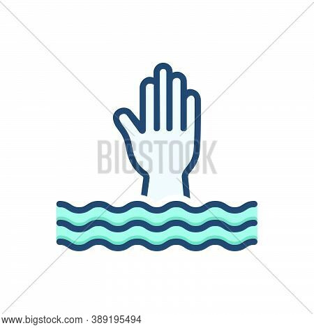 Color Illustration Icon For Overwhelm Swamp Submerge Engulf Bury Deluge Flood Inundate Help