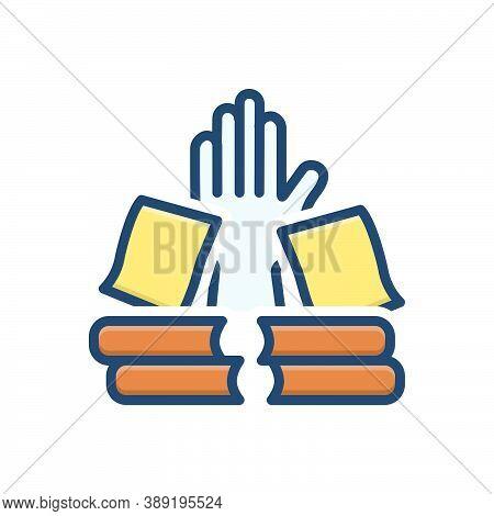 Color Illustration Icon For Overwork Workplace Task Books Paperwork Bureaucracy Stress Burden