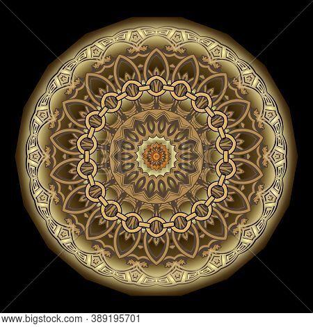 Greek Round Floral Mandala. Ornamental Luxury Vector Background. Radial Pattern. Beautiful Decorativ