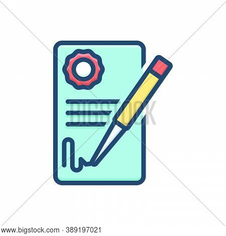 Color Illustration Icon For Deal-agreement Deal Agreement Agreement Signature Feedback Registration
