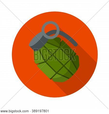 Vector Green Bomb. Grenade Icon. Weapons And Bombshell. Soldiers Equipment And Ammunition. Element O