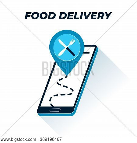 Food Tracking Icon. Vector Outline Illustration Of Smartphone Screen With Eatery Location Icon And T