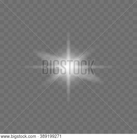 Set Of Star Burst With Sparkles. Sparkling Magical Dust Particles. White Glowing Light Explodes On A