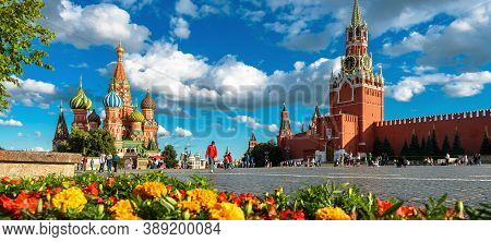 Red Square In Summer, Moscow, Russia. This Place Is Famous Tourist Attraction Of Moscow. Panoramic V