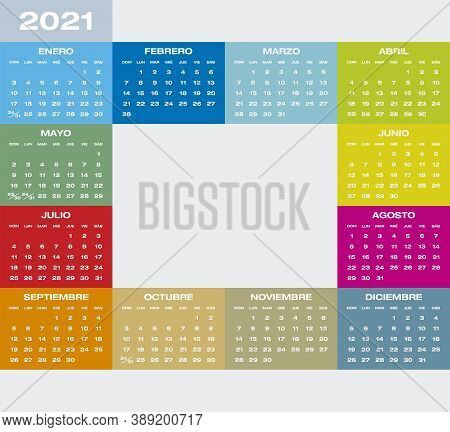 Colorful Calendar For Year 2021 In Spanish, Vector Format.