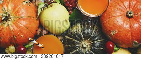 Pumpkin Juice, Autumn Harvest Of Vegetables, Fruits And Nuts On White Background, Thanksgiving Conce