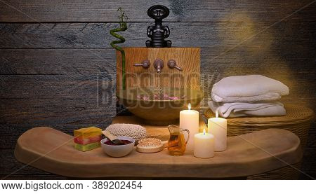 Composition Of Spa Treatment With Bamboo On Dark Wooden Background. Spa And Wellness Setting With Na