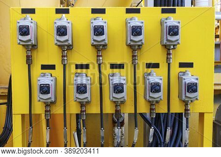 Local Control Switch Of Circuit Breaker Of Control And Protection Panel In Industry Plant.