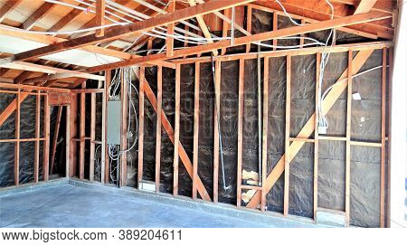 Frame Of A Garage Remodeling, Conversion To A Room