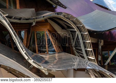 Elciego, Spain - 6 August 2020: Winery Of Marques De Riscal In Alava, Basque Country. The Futuristic