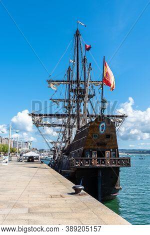 Santander, Spain - 13 September 2020: Andalucia Galleon, 17th Century Spanish Galleon Replica