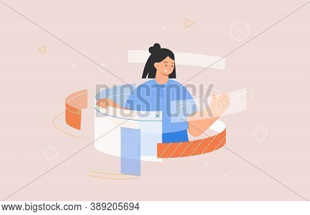 Designing Developing And Programming Technologies Concept. Woman Programmer Or Designer Working In P