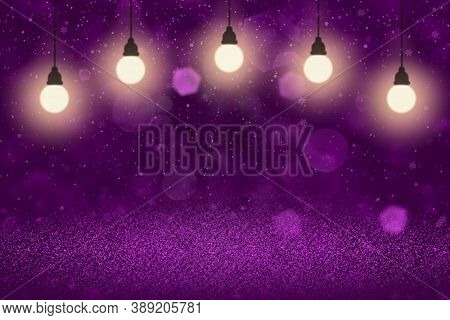 Pink Nice Sparkling Abstract Background Glitter Lights With Light Bulbs And Falling Snow Flakes Fly