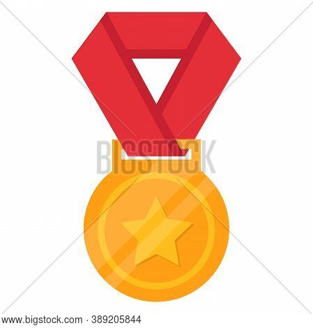 Gold Medal Flat Vector Icon Isolated On A White Background. Gold Medal With Star. Golden Medal In Fl