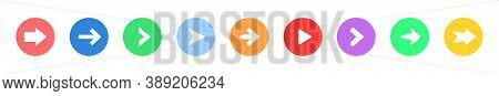 Arrow Sign Icon Set. Colored Buttons With Arrow Icon. Circle Shape Buttons. Arrow Vector Icon. Colle