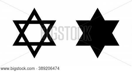 David Star Flat Vector Icons. Israel Symbol Of Religion. Jerusalem Judaism Symbol. Biblical Seal. Ve