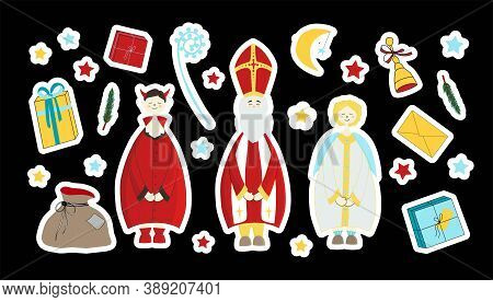 Saint Nicholas, Devil And Angel. Saint Nicholas Day Stickers. Elements For The Holiday. Gift, Surpri