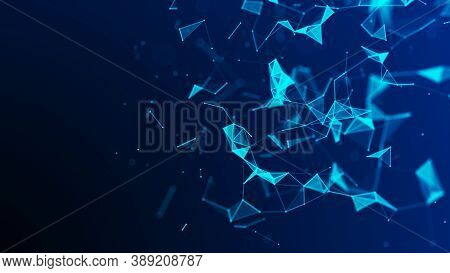 Network Connection Structure. Big Data Complex With Compounds. Abstract Blue Digital Background. Sci