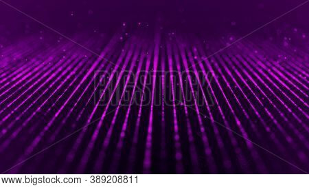 Network Connection Structure. Technological Purple Background. Big Data Visualization. 3D Rendering.