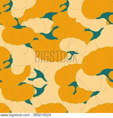 Yellow Pumpkin Seamless Pattern. Art Design Stock Vector For Web, For Print, For Fabric Print, For W