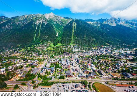 Chamonix Aerial Panoramic View. Chamonix Mont Blanc Is A Commune And Town In South Eastern France