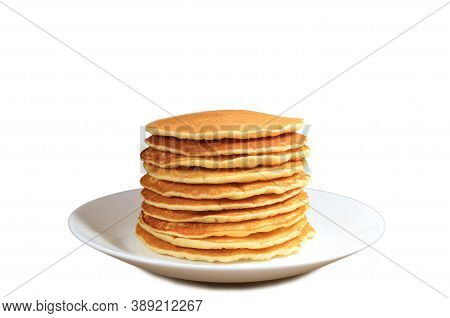 Plate Of Homemade Plain Pancake Stack Isolated On White Background