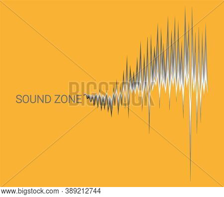 Yellow Music Background With 3d Monochrome Sound Waves Oscillating. Vector Digital Electronic Poster