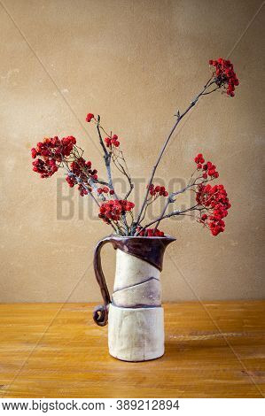 Autumn Awesome Still Life With Sorbus Aucuparia Branches In Handmade Ceramic Brown White Vase Placed