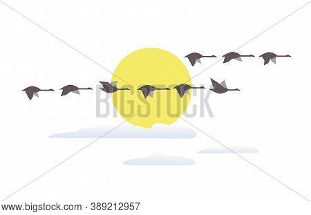 Wild Geese Flying At Sunset Minimalist Vector Icon. Goose Flight At Sunset Simple Cartoon Design Ele