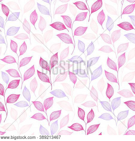 Wrapping Tea Leaves Pattern Seamless Vector. Minimal Tea Plant Bush Leaves Floral Textile Print. Her