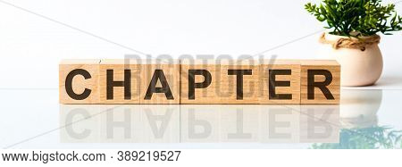 Chapter Motivation Text On Wooden Blocks Business Concept White Background. Front View Concepts, Flo