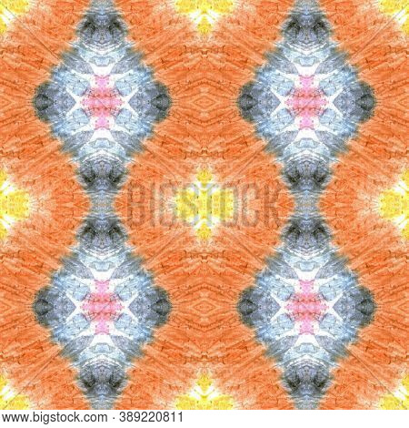 Swimwear Fabric Design.  Orange, Pink And Blue Textile Print. Colorful Natural Ethnic Illustration.