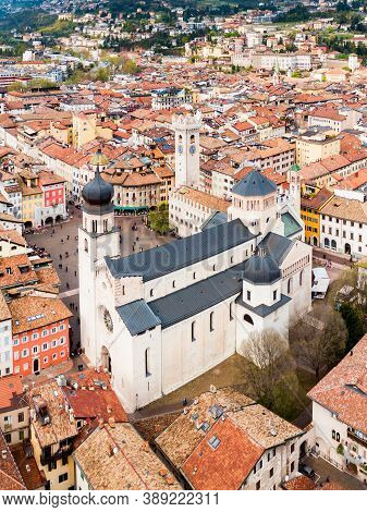 Trento Cathedral Or Duomo Di Trento Aerial Panoramic View. Duomo Is A Roman Catholic Cathedral In Tr