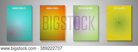 Dynamic Dot Faded Screen Tone Title Page Templates Vector Collection. Digital Brochure Perforated Sc