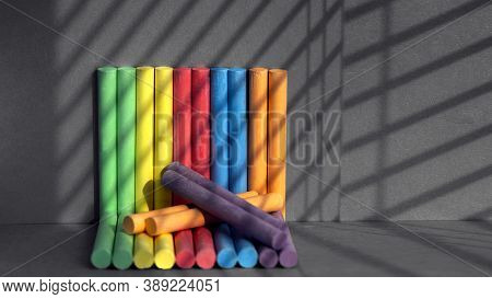 Shadow Drawing On Crayons.school, Bright Supplies.rainbow Colorful Chalk Pastel For Preschool Childr