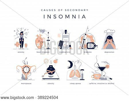 Causes Of Secondary Chronic Insomnia Set: Anxiety, Depression, Heart Cardiovascular Disease And Diab