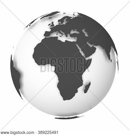 Earth Globe. 3d World Map With White Lands Dropping Shadows On Light Grey Seas And Oceans. Vector Il