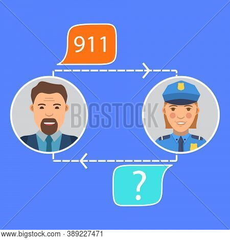Call Of Police.call 911, Emergency Call Concept.police Officer S Conversation With The Man.incoming