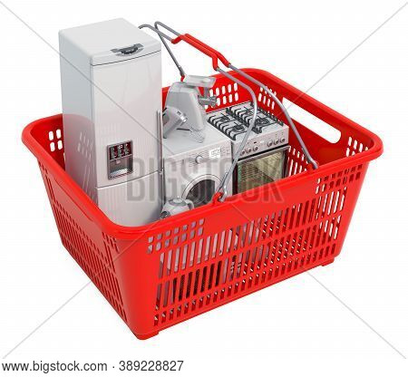 Shopping Basket Full Of Kitchen Appliances, 3d Rendering Isolated On White Background