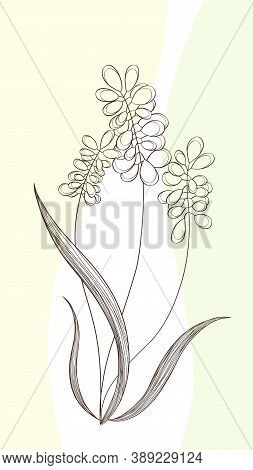 Delicate Flowers From Lines On An Abstract Yellow Background