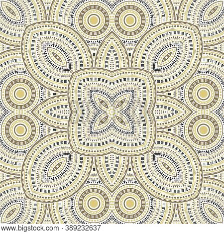 Intricate Moroccan Zellige Tile Seamless Ornament. Ethnic Geometric Vector Patchwork. Fabric Print D