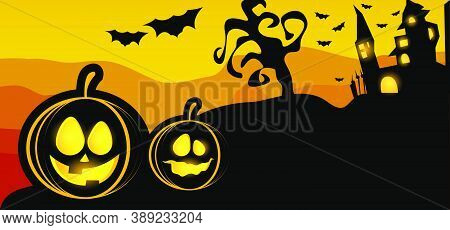 Scary Halloween With Magical Abbey Background Design