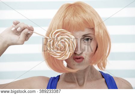 Crazy Woman Holding And Playing With Lollipop. Dieting Concept. Lollipop Dieting. Woman Love Sweet L