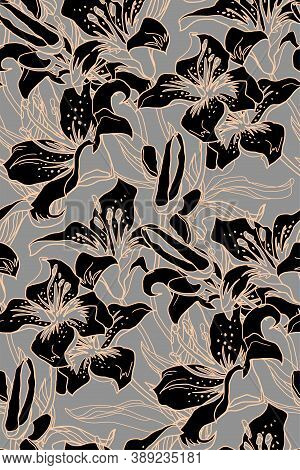 Black Flowers Lily. Floral Ornate Vector Seamless Pattern With Buds And Leaves Of Lily Flowers Drawn