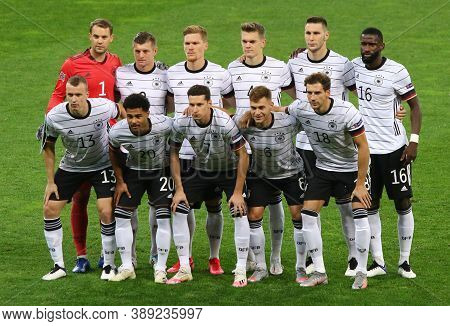 Kyiv, Ukraine - October 10, 2020: Players Of Germany National Team Pose For A Group Photo Before The