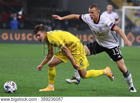 Kyiv, Ukraine - October 10, 2020: Eduard Sobol Of Ukraine (l) Fights For A Ball With Lukas Klosterma